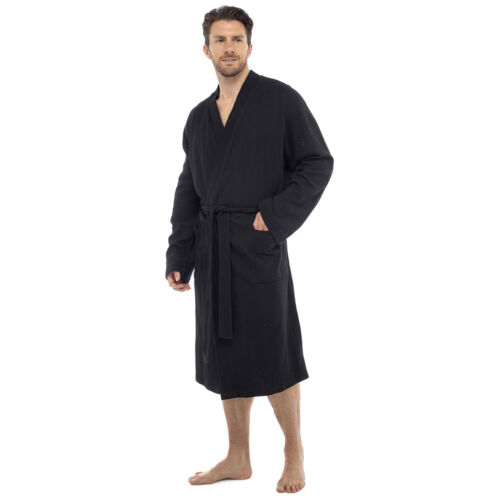 Men/'s 100/% Cotton Bath Robe Dressing Gown Soft Waffle Wrap Loungewear Luxury UK