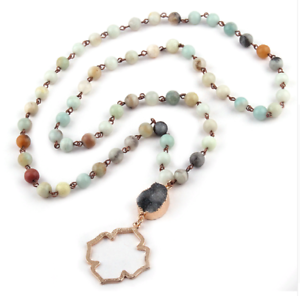 Bohemian-Tribal-Jewelry-Beads-Halsband-Amazonite-Stones-Natural-Necklace