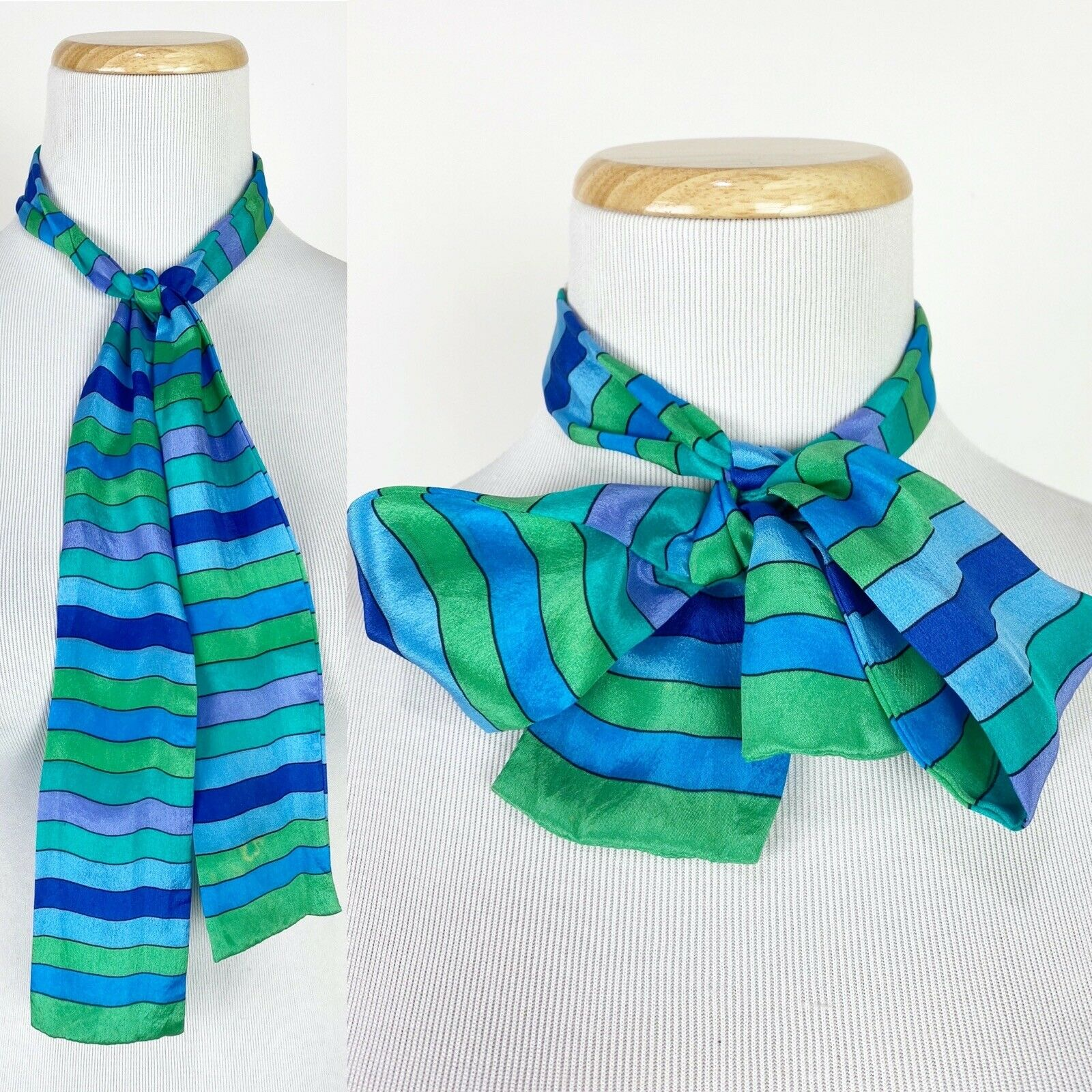 *FLAWS* VTG 80s 90s Jewel Tone Striped Silk Neck Tie Teal Blue Green Colorblock
