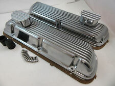 SB Ford SBF Finned Polished Aluminum Valve Cover Kit W/ Breathers 289 302 351W