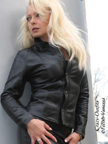 pelle Su Camicetta misura nera in Camicetta Camicia in pelle lunga Manica zIFxIaCq