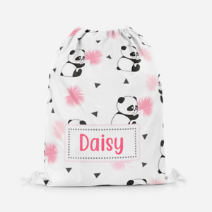 Personalised Cute Panda Bear Kids Drawstring Bag Sports Swimming School Bag