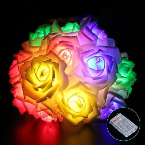 20 LEDs Rose Blume Fee Lichter String Batterie Betrieben Hochzeit Party Dekor aa