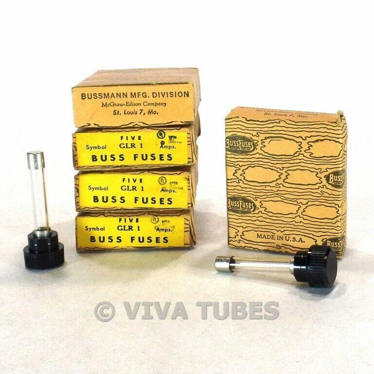 Set of 20 NOS NIB Vintage Bussman Fuses Type GLR 1 AAmp 300 V Panel Mount Fuses
