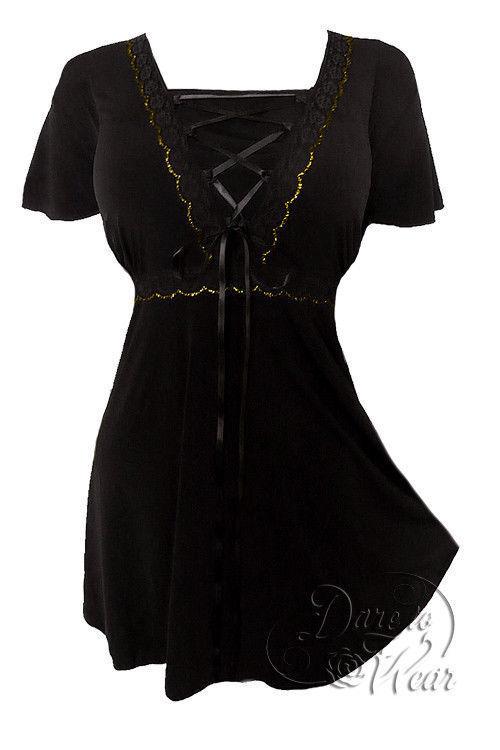 Dare To Wear Victorian Gothic Plus Größe Angel Corset Top in schwarz Gold