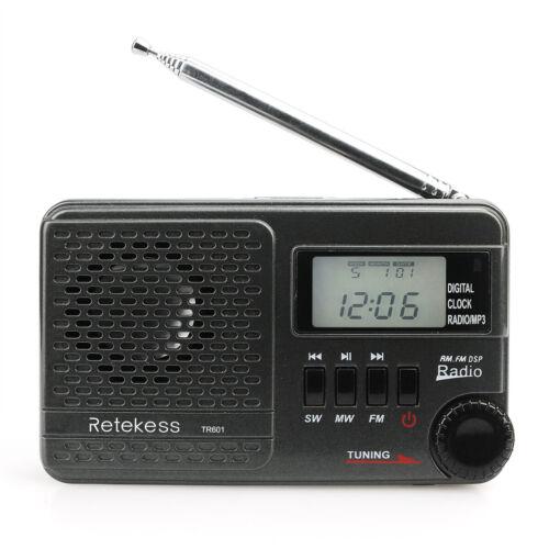 RETEKESS Pocket TR601 DSP FM//AM//SW Radio Sleep Timer Alarm Clock for Outdoor US