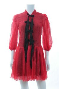 Philosophy-di-Lorenzo-Serafini-Bow-Detailed-Lace-Dress-Red-RRP