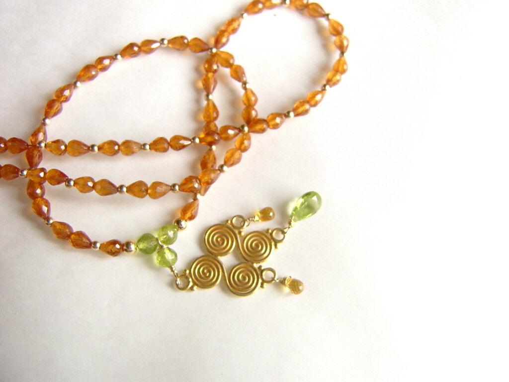 CeS Kette Spessartin Mandarin - Granat in orange, Peridot, yellower Saphir   Safir