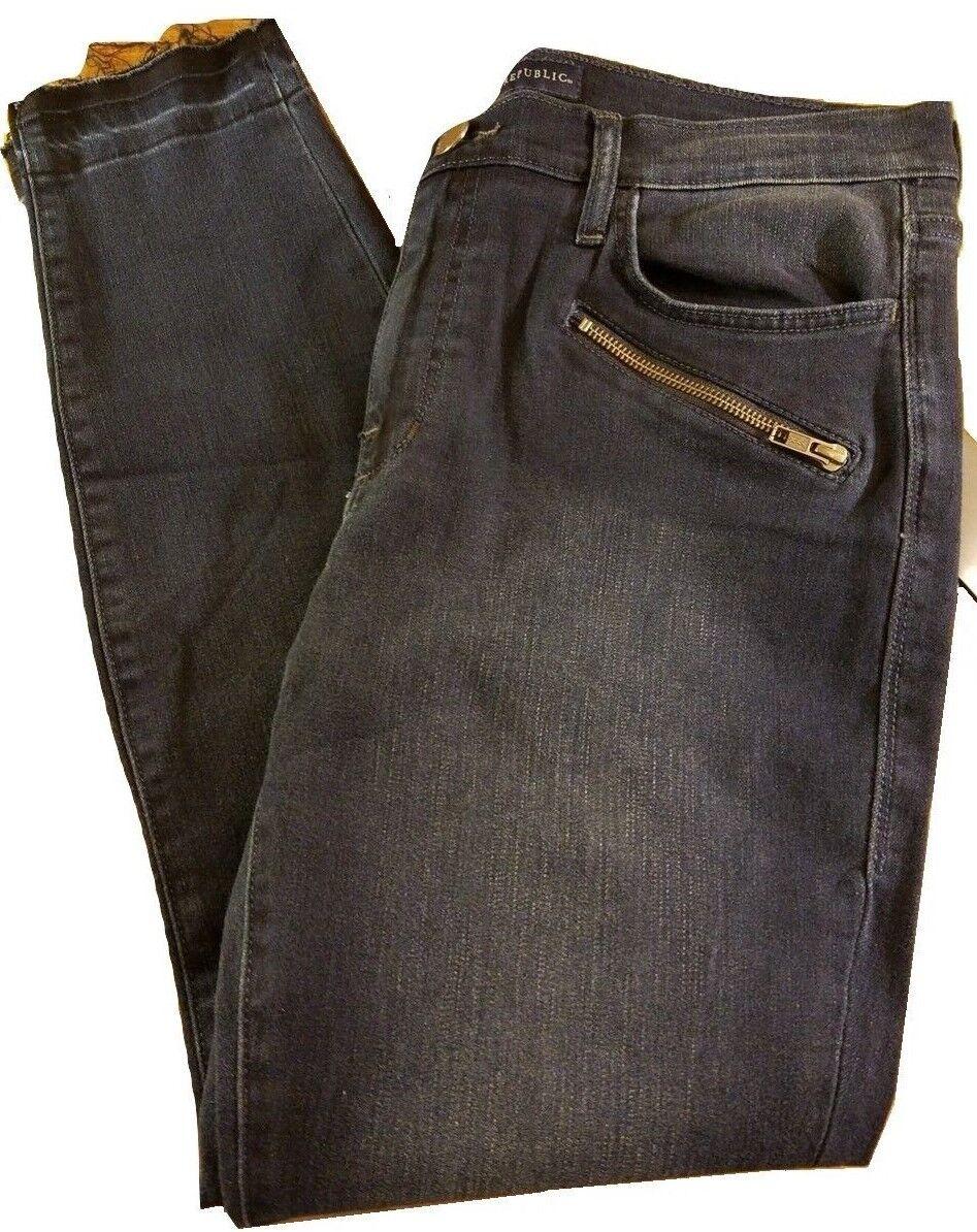 Nwt Damen Rock & Republic Kasandra Reißverschluss Ausgefranst Jeans - Dunkelblau