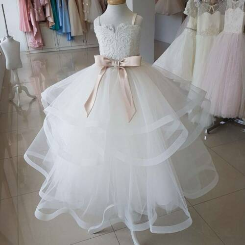 Ivory Flower Girl Dress For Kids Wedding Party Princess Prom Tulle Ball Gowns
