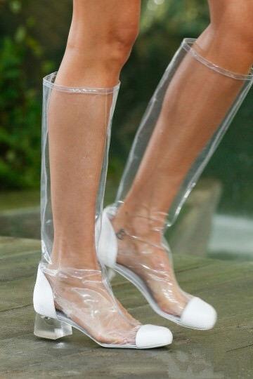 Neu Damen Wadenhoch Stiefel Schuhe Transparent Slip on Gummi Stiefel Schuhe Stiefel GR.34-48 d26b97