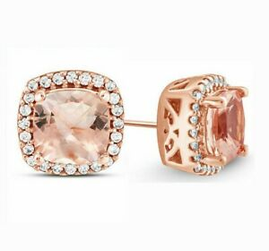 14k-Rose-Gold-Plated-Morganite-Created-Gemstone-Stud-Earring-5-Options-ITALY