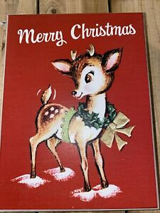 Vintage Retro Style Reindeer Rudolph Red Nosed Reindeer Christmas Wood Sign