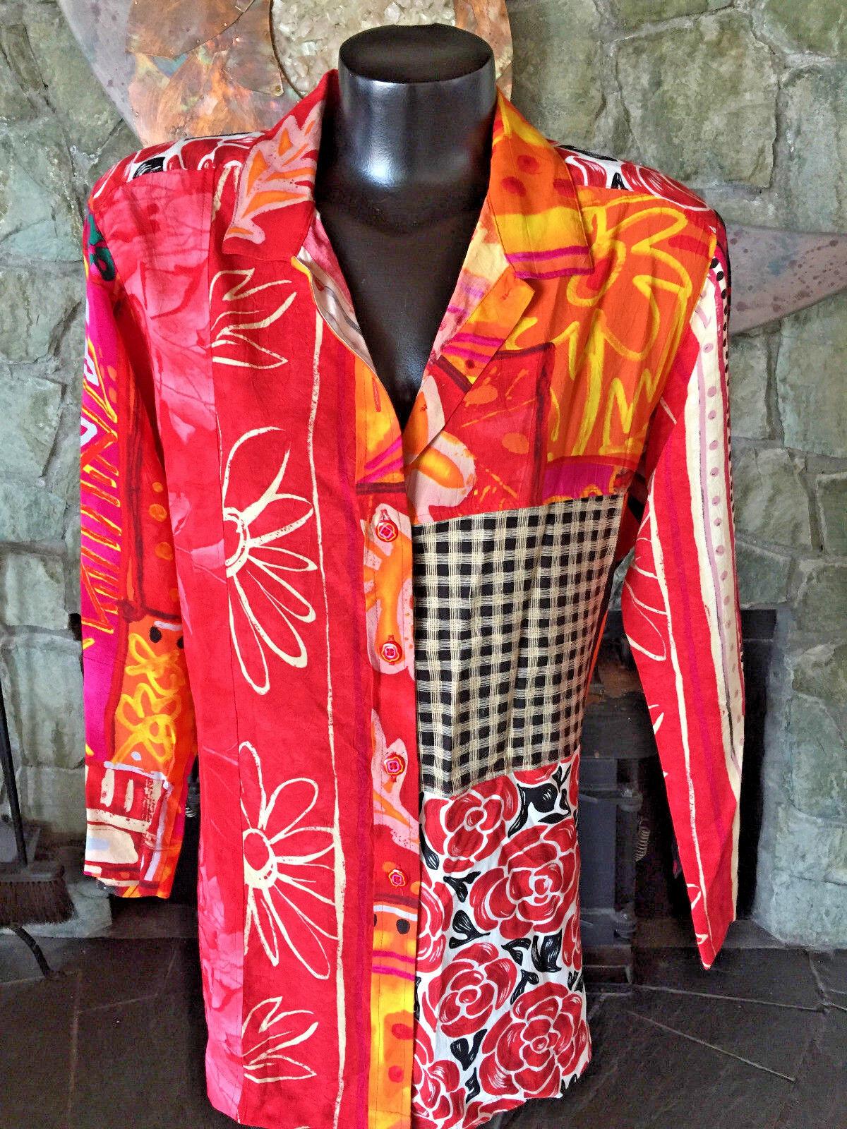 Jams World Shirt CF Buttons  3 4 Sleeves  Pieced Hawaiian Prints  NWOT XL