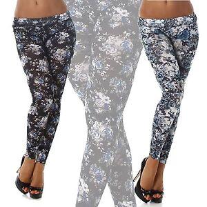 Leggings-donna-pantaloni-vintage-floreale-fiori-misto-cotone-bero-bianco-nuovi
