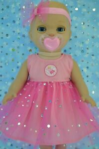 Play-n-Wear-Dolls-Clothes-For-14-034-Luvabella-Newborn-PINK-SEQUIN-DRESS-HEADBAND