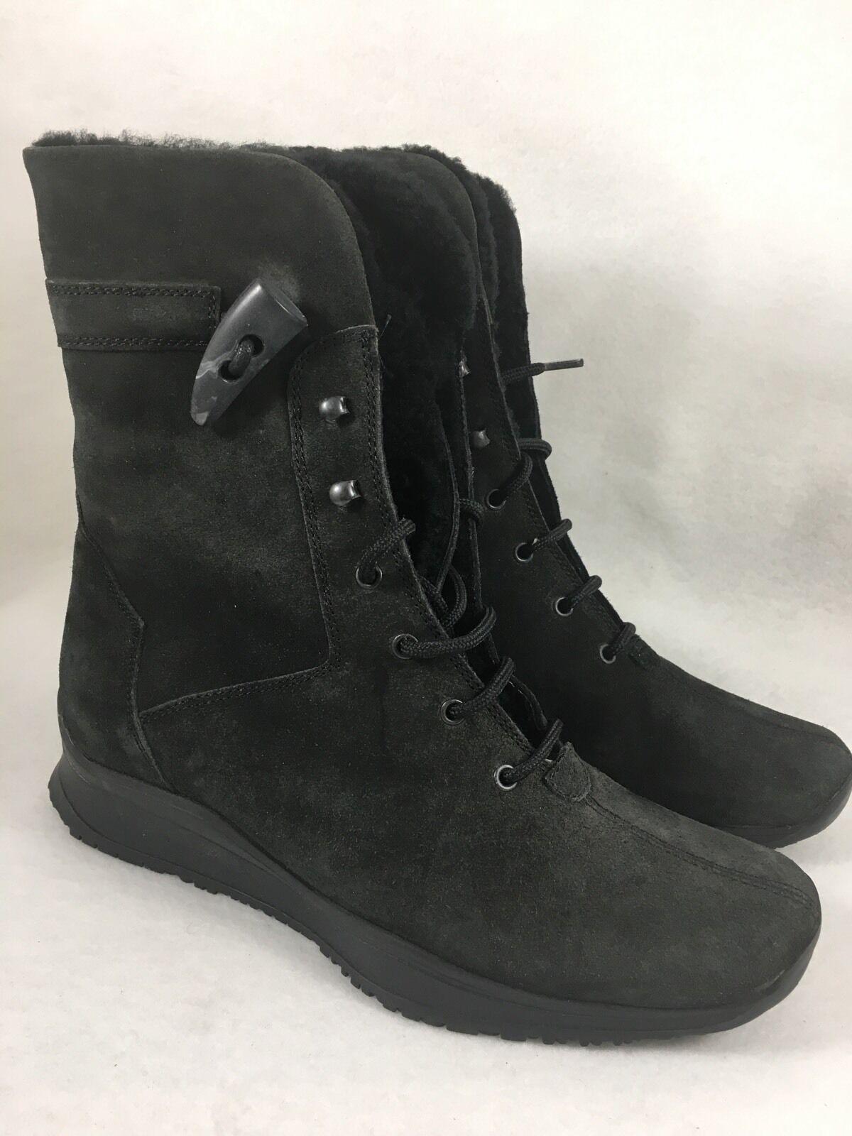 Aquatalia Marvin K. Rusty Black Suede Lace up Combat Ankle Boot Weatherproof 5.5