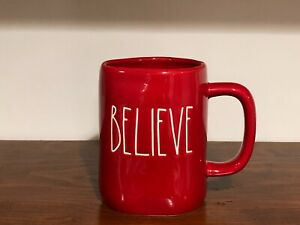 Rae-Dunn-Christmas-By-Magenta-BELIEVE-Farmhouse-Large-Letter-Red-Mug