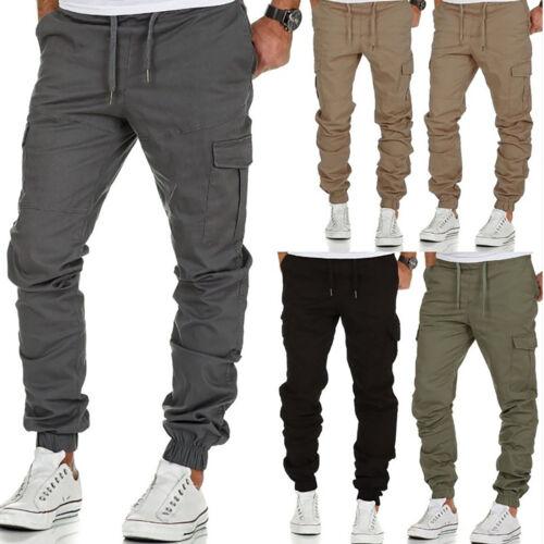 Men Multi-Pocket Combat Tactical Pants Casual Joggers Cargo Trouser Working UK