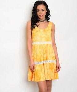 B-Sharp-Yellow-Orange-Boho-Tie-Dye-Crochet-Tiered-Sleeveless-Western-Dress-S-M-L