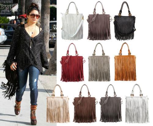 New Womens LYDC Celeb Designer Official Fringe Faux Leather Tassle Messenger Bag