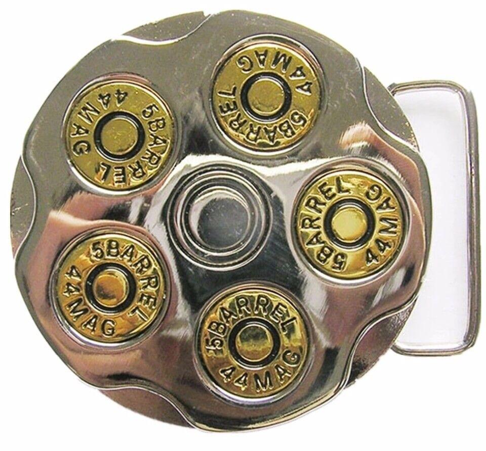 Mens Cowboy Biker Outlaw Revolver Gun Bullet Belt Buckle