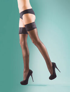 Womens Ladies Hold Ups Stockings Lace Top 15 Denier Supershine