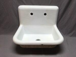 """antique 24"""" white porcelain cast iron high back kitchen"""