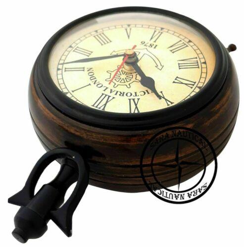 Antique Brass Maritime Table Clock Nautical Office Desk Decor Victoria London