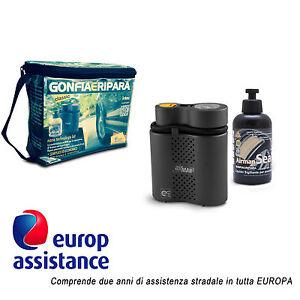 Kit compressore liquido 300 ml gonfia e ripara auto moto biciclette + assistenza