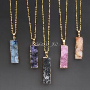 Natural-Quartz-Gemstone-Pendant-Healing-Chakra-Gold-Chain-Druzy-Necklace