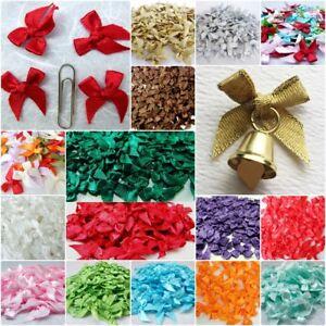 100 Mini Ruban Satin Tiny Bows Noël Craft Artificielle Mariage À Faire Soi-même Applique-afficher Le Titre D'origine Soyez Amical Lors De L'Utilisation