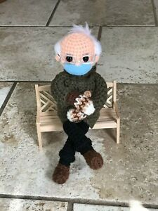 Bernie-039-s-Mittens-Crochet-Doll-Bernie-Sanders-Meme-Handcrafted-Collectible-Doll