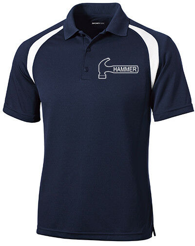 Hammer Men's Nail Performance Polo Bowling Shirt Dri-Fit Navy