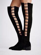 Faryl Robin x Free People Black Suede Ladder OTK Boots Size 10 NWOB $248