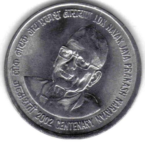 KM #313 INDIA UNCIRCULATED 2002 100th ANN JAY PRAKASH COMMEMORATIVE 1 RUPEE