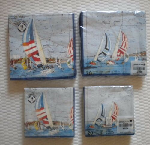Mesafina Napkins Cocktail or Luncheon Size Sailing Sail Boat Nautical Theme Map