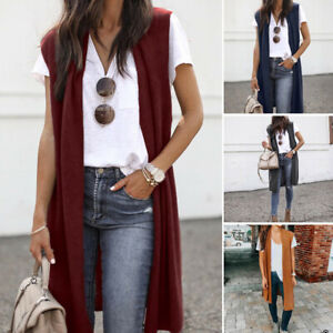 Women-Sleeveless-Shawl-Collar-Vest-Slouchy-Cardigan-Open-Front-Draped-Mid-Length