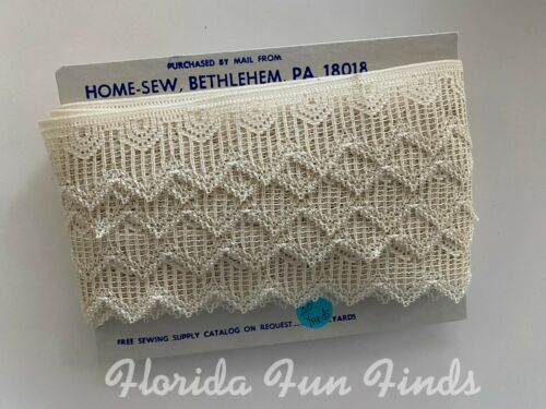 """Vintage Ivory Lace by Home Sew ~ 21 Yards ~ 1-3//4/"""" wide New Old Stock NT-03"""