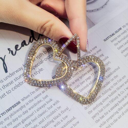 Fashion Luxury Round Heart Earrings Women Crystal Geometric Hoop Jewelry Gift