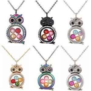 Glass-Memory-Floating-Locket-Animal-Owl-Bead-Cage-With-Rhinestone-Necklace-20-034
