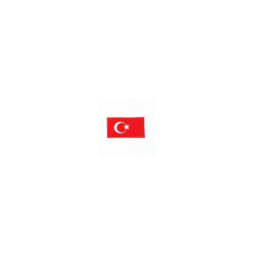 TURKEY COUNTRY FLAG IRON-ON PATCH CREST BADGE 1.5 X 2.5 INCH