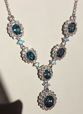 "AMAZING LONDON BLUE, WHITE & ELECTRIC BLUE TOPAZ NECKLACE, 18"" IN PLAT/STERLING"