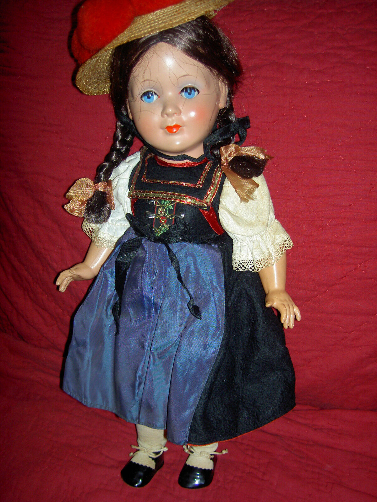 LARGE 18  jt'd. celluloid or early plastic 1940 German Schwaebisch dressed doll