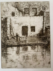 Jacques Beurdeley engraving water forte etching a corner in Bruges Belgium
