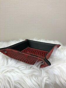 Leder-Made-Italy-Snakeprint-Taschenleerer-Rot-schwarz-Lederschale-Ablageschale