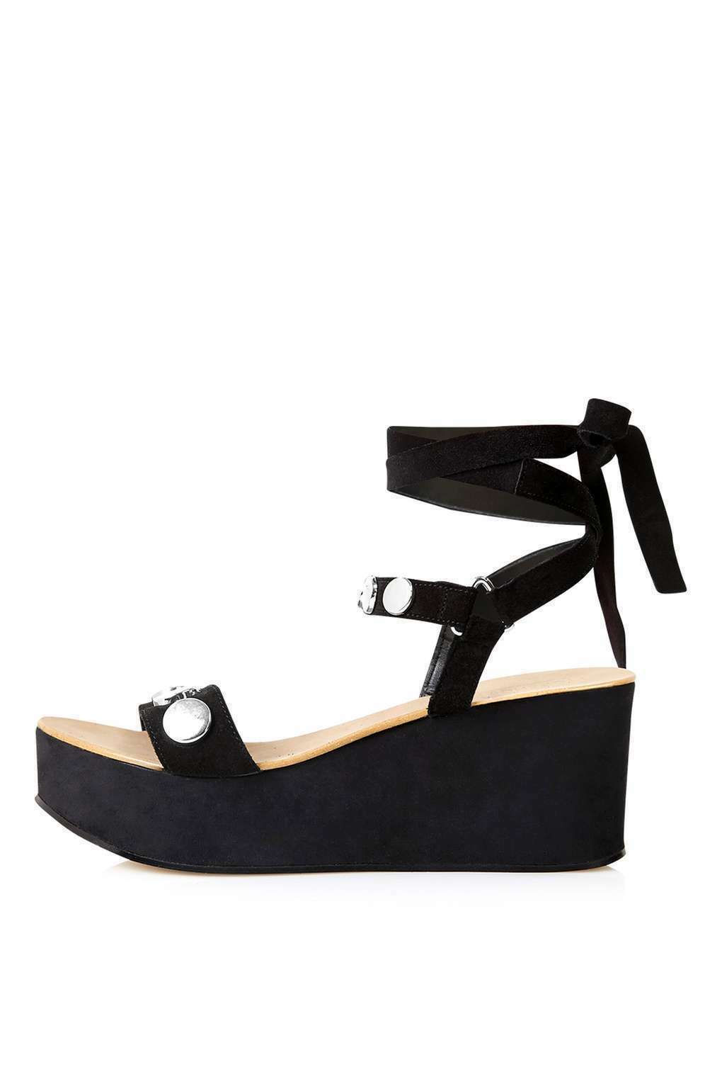 BN TOPSHOP WICKED Stud Wedge Sandal - BLACK UK 4