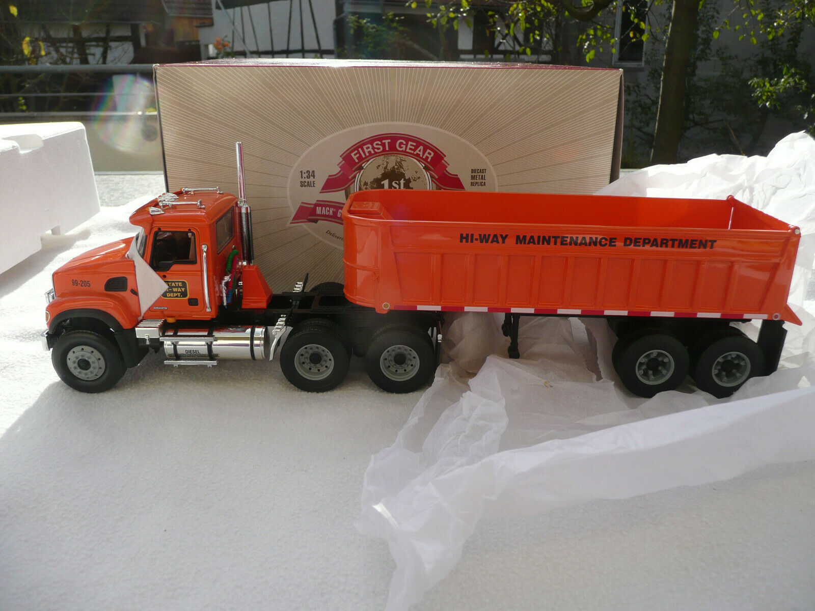 1st First Gear 19-3363 Mack Granite Tractor with End-Dump Trailor  1 34