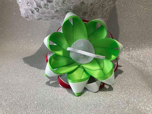Handmade white//green//red snowman Christmas Xmas large Romany hair bows