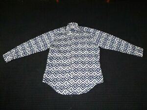 Vtg-70s-Men-039-s-Richman-Bros-Woven-Polyester-Disco-Shirt-Size-L-Blue-White